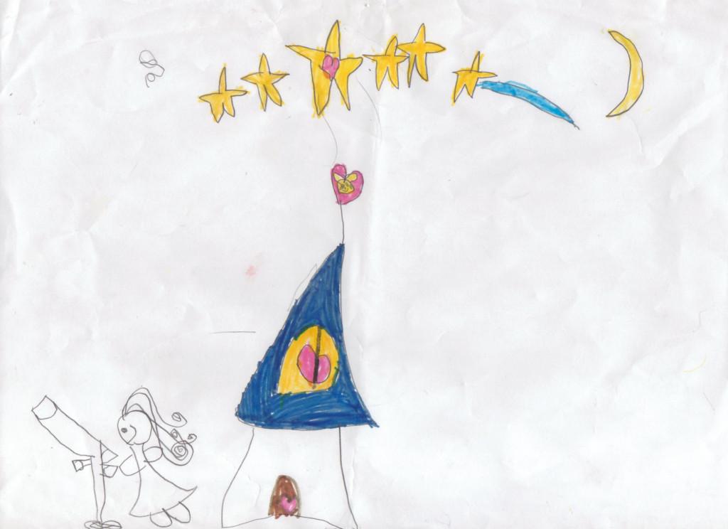 desenho de sofia - por ela - na parte externa da casa olhando no telescópio