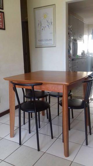 conjunto mesa e cadeiras - mesa 4 lugares 90x90